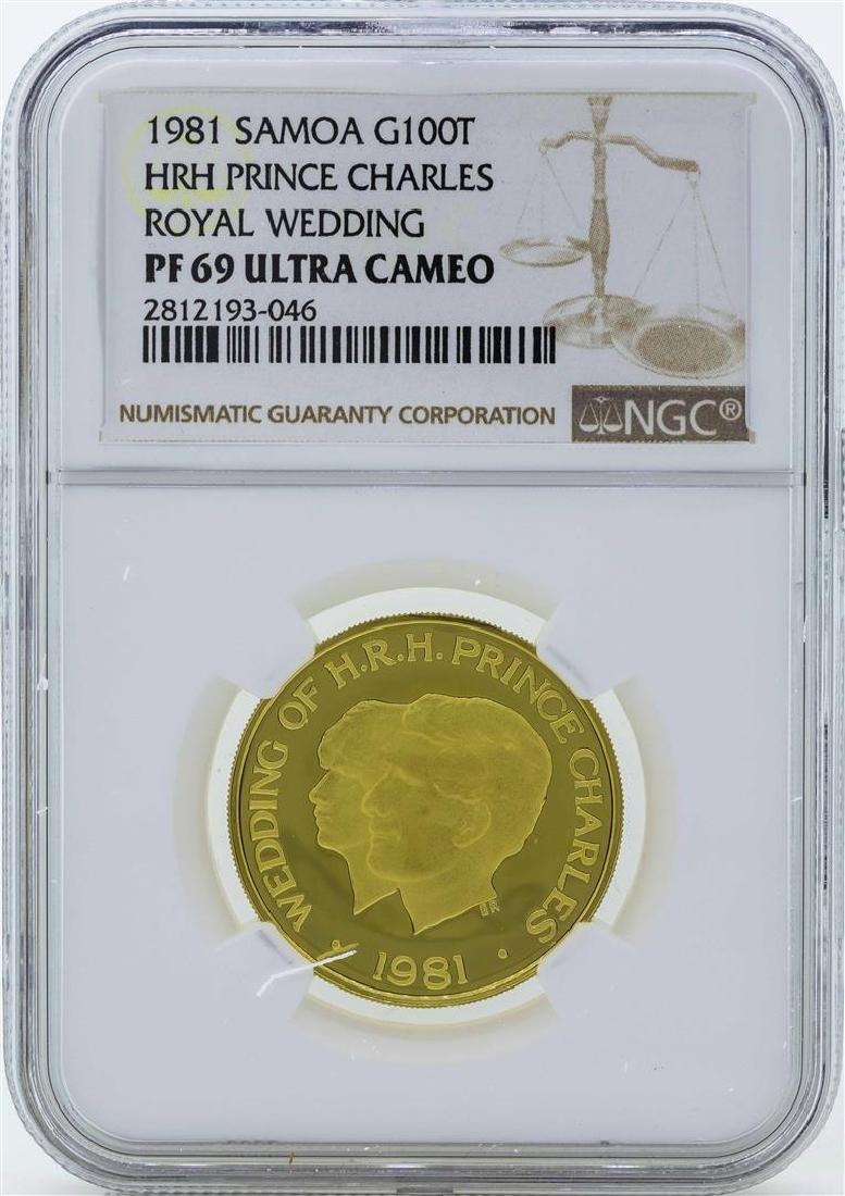 1981 Samoa 100 Tala Prince Charles Royal Wedding Gold