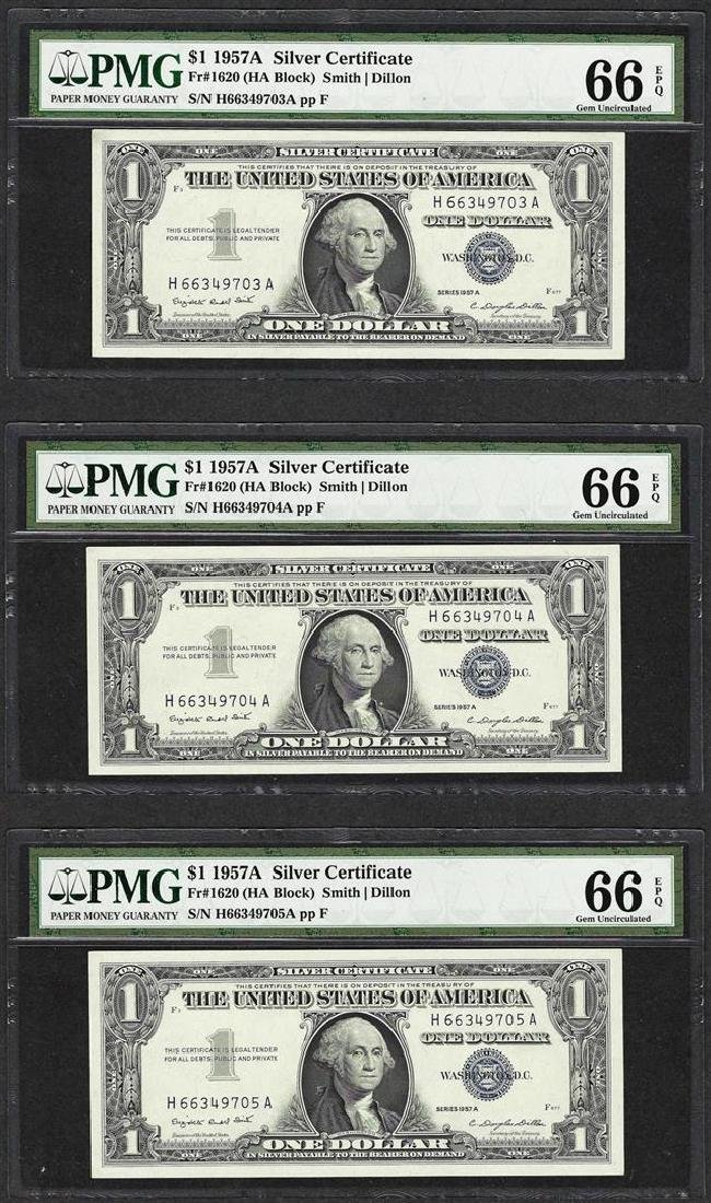 Lot of (3) Consecutive 1957A $1 Silver Certificate