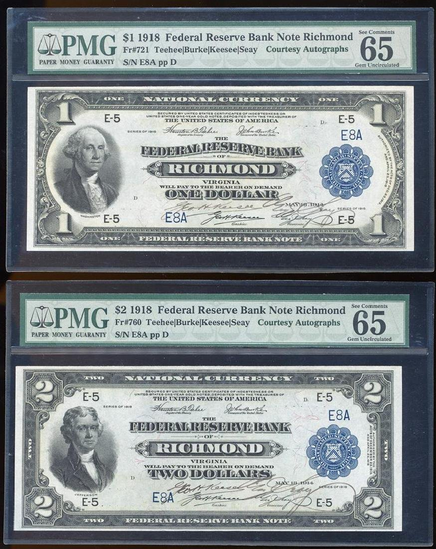 MATCHING Serial Number Pair of 1918 $1/$2 Federal