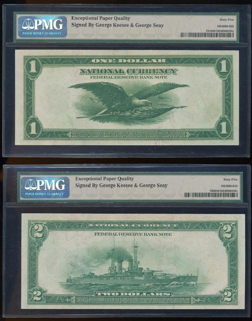 MATCHING Serial Number Pair of 1918 $1/$2 Federal - 2