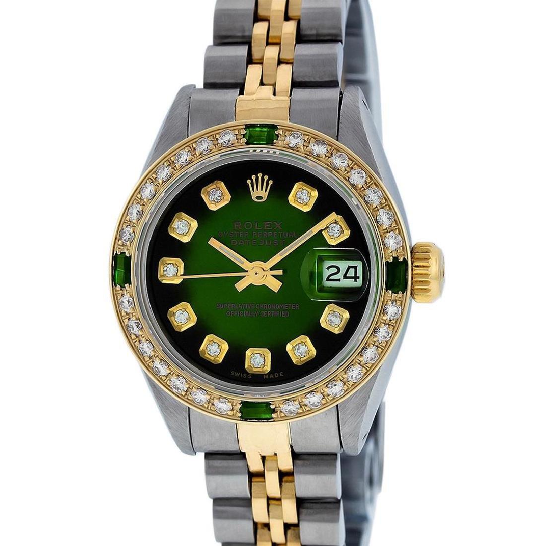 Rolex Ladies Two Tone Green Vignette Diamond Datejust - 2