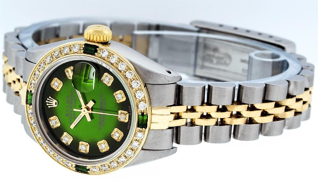 Rolex Ladies Two Tone Green Vignette Diamond Datejust - 3