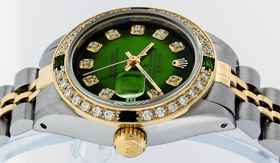 Rolex Ladies Two Tone Green Vignette Diamond Datejust - 4
