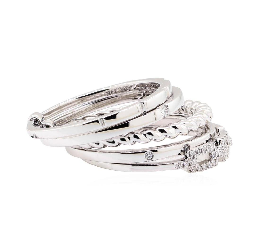 14KT White Gold 0.20 ctw Diamond Stackable Band - 2