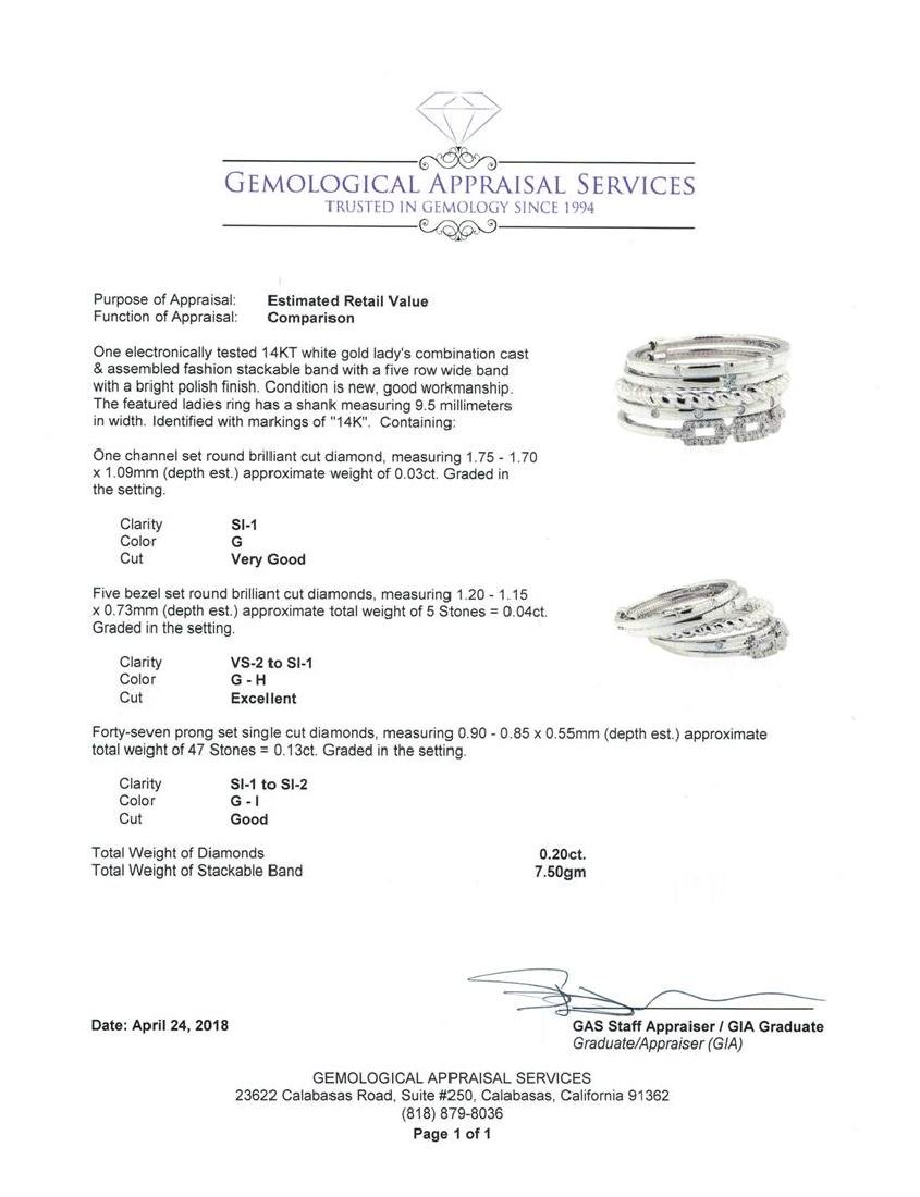 14KT White Gold 0.20 ctw Diamond Stackable Band - 4