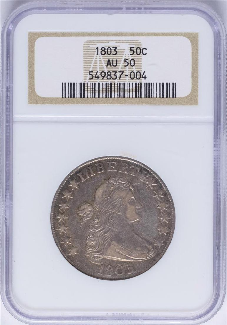 1803 Draped Bust Half Dollar Coin NGC AU50