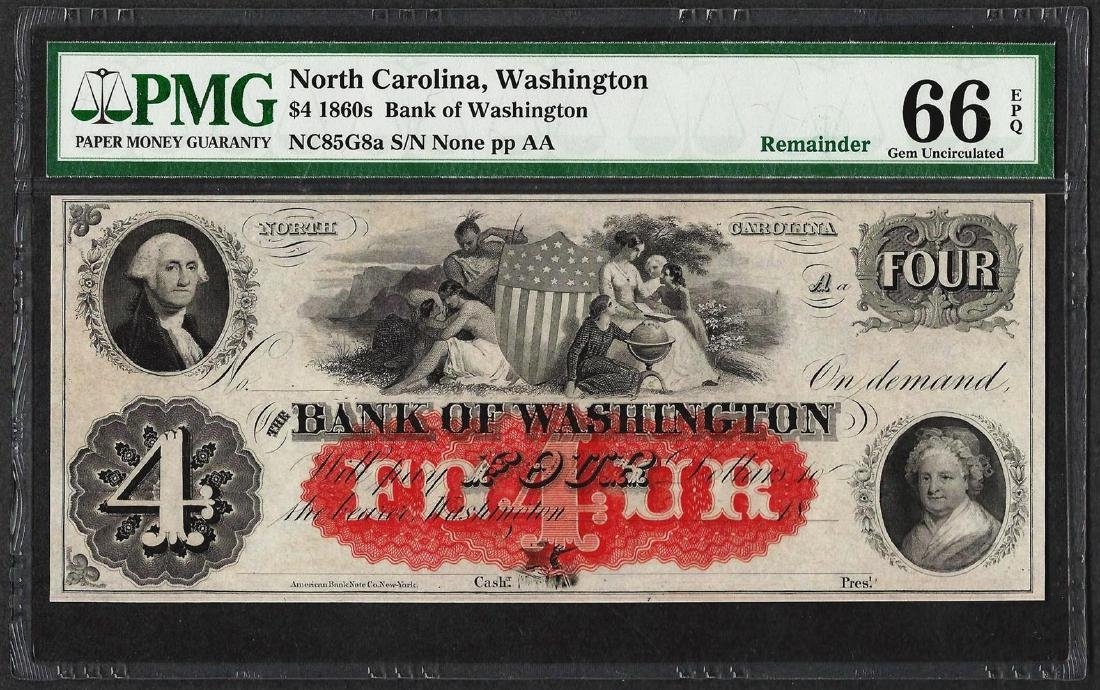 1860's $4 Bank of Washington North Carolina Obsolete