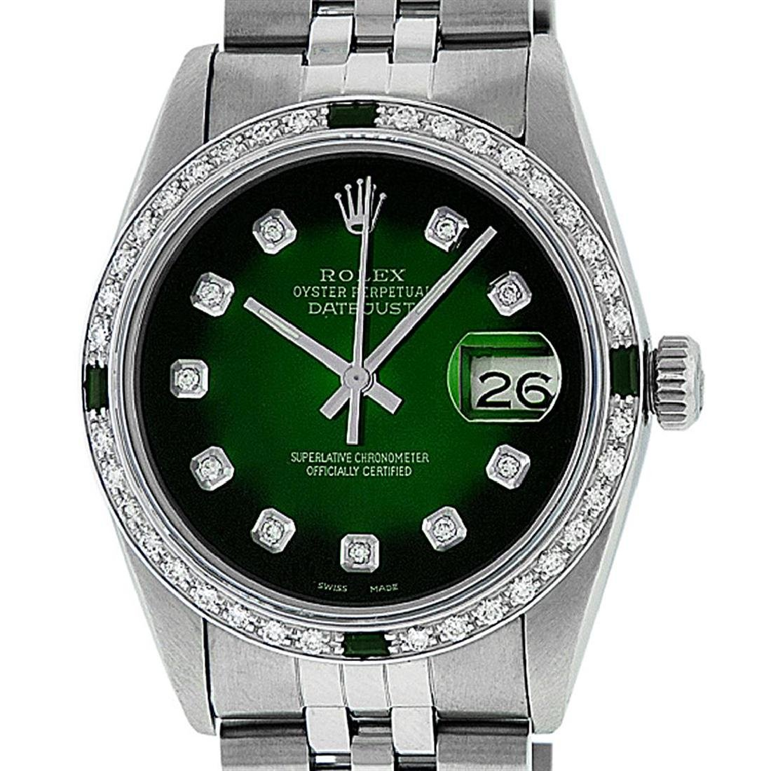 Rolex Men's Stainless Steel 36mm Green Vignette Diamond