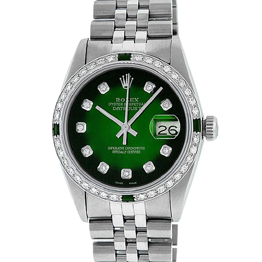 Rolex Men's Stainless Steel 36mm Green Vignette Diamond - 2