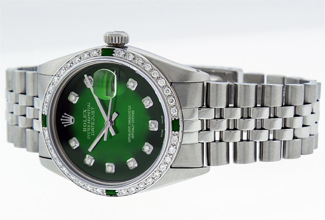 Rolex Men's Stainless Steel 36mm Green Vignette Diamond - 3