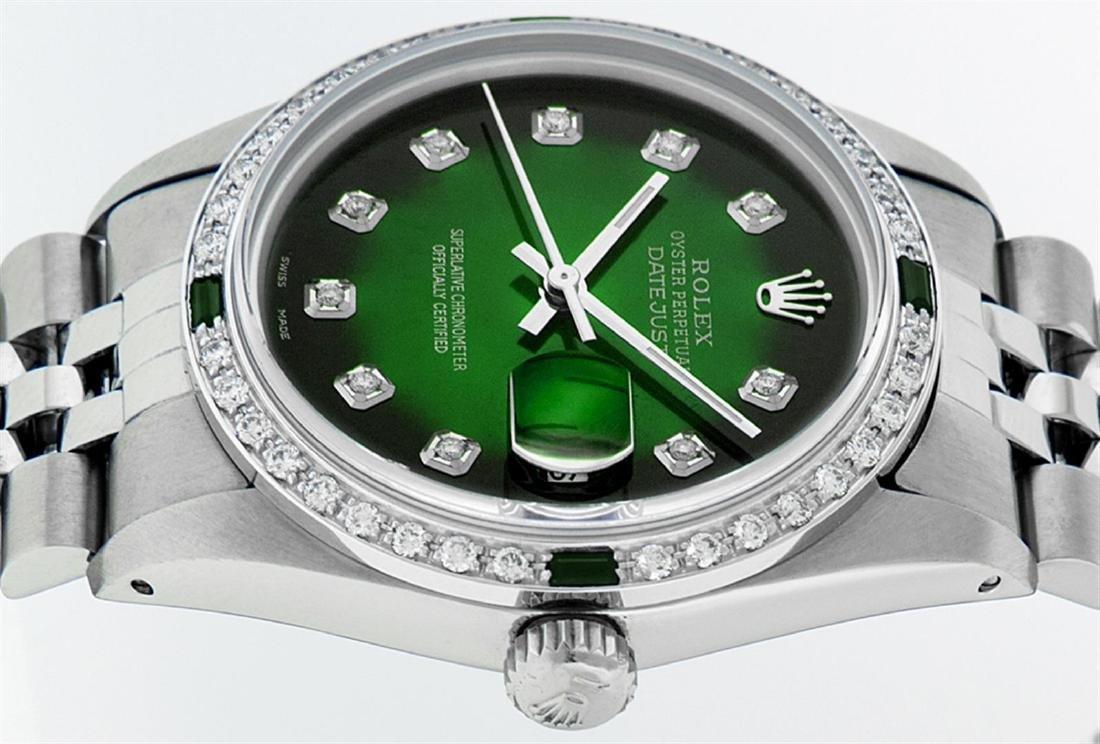 Rolex Men's Stainless Steel 36mm Green Vignette Diamond - 4