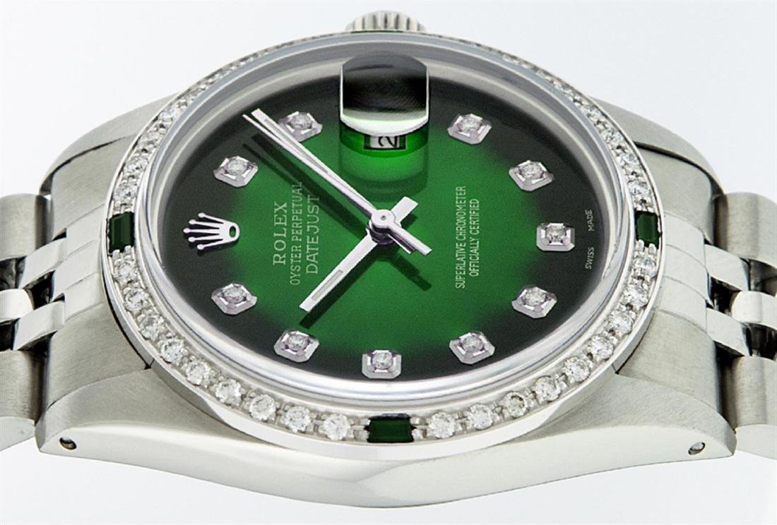 Rolex Men's Stainless Steel 36mm Green Vignette Diamond - 5