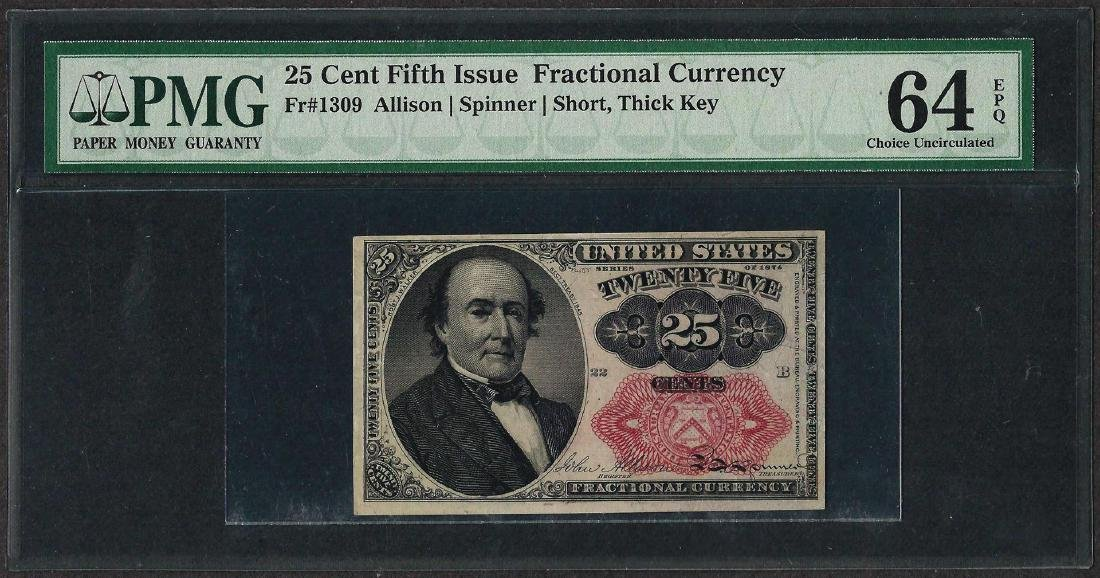 1874 25 Cent Fractional Currency Note Fr.1309 PCGS