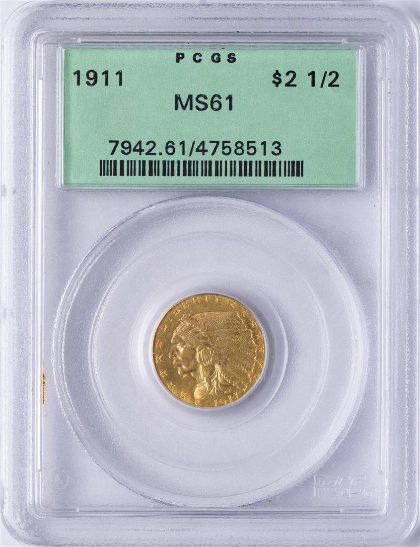 1911 $2 1/2 Indian Head Quarter Eagle Gold Coin PCGS