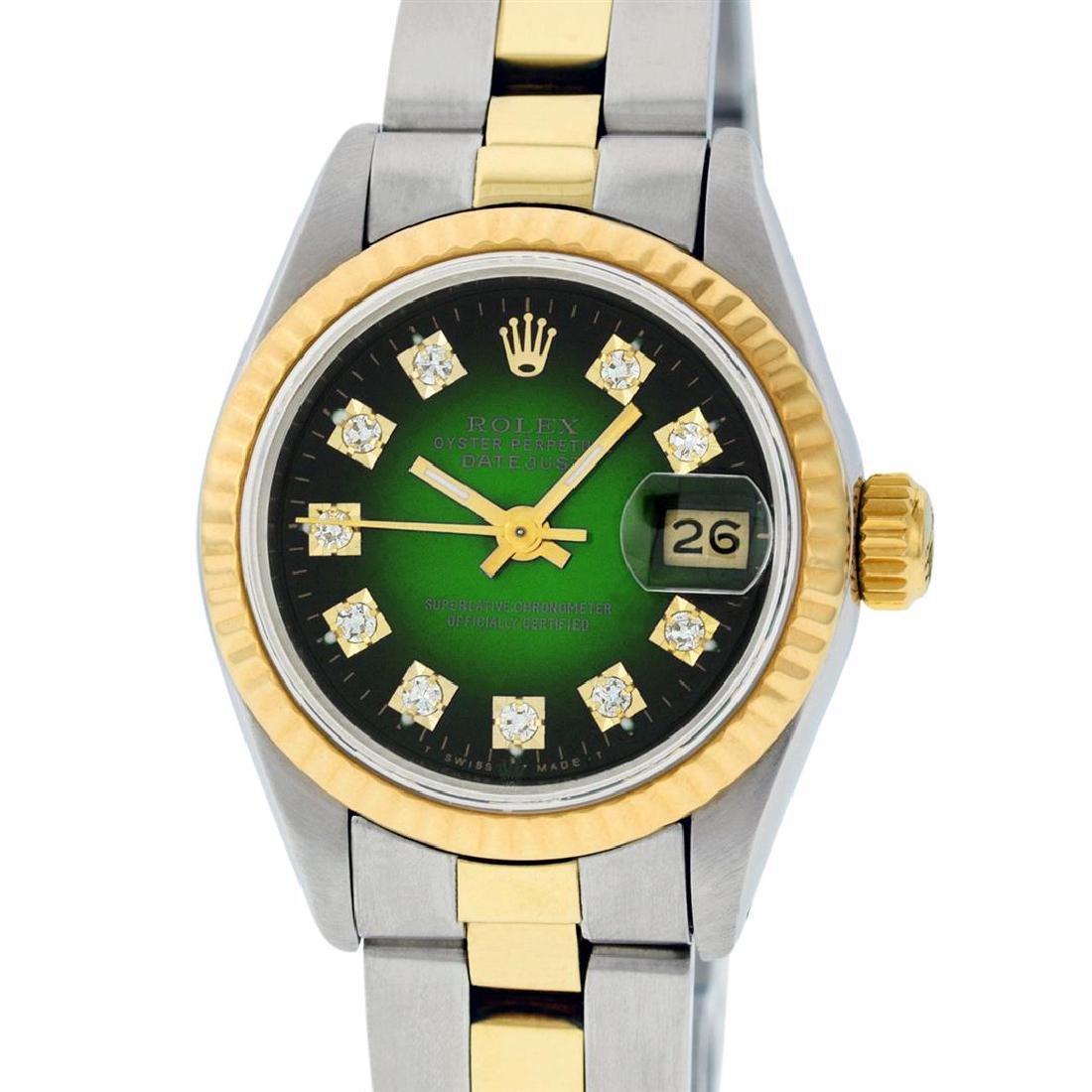 Rolex Ladies Two Tone 14K Green Vignette Diamond 26MM