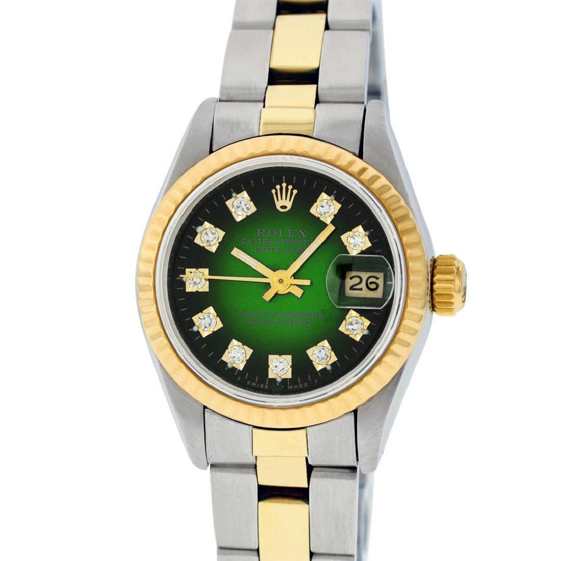 Rolex Ladies Two Tone 14K Green Vignette Diamond 26MM - 2