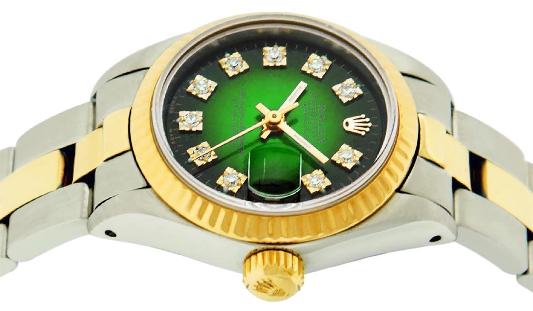 Rolex Ladies Two Tone 14K Green Vignette Diamond 26MM - 3