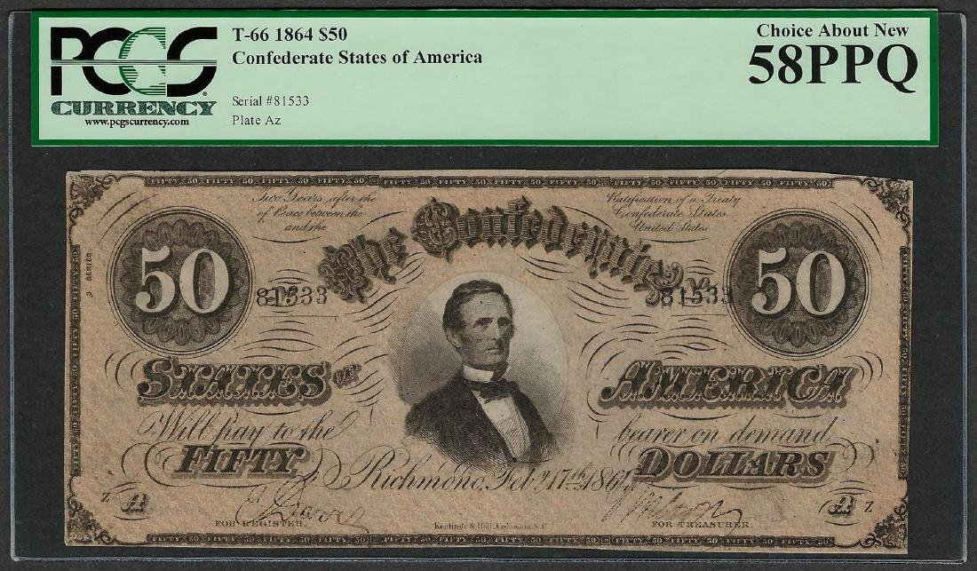 1864 $50 Confederate States of America Note T-66 PCGS