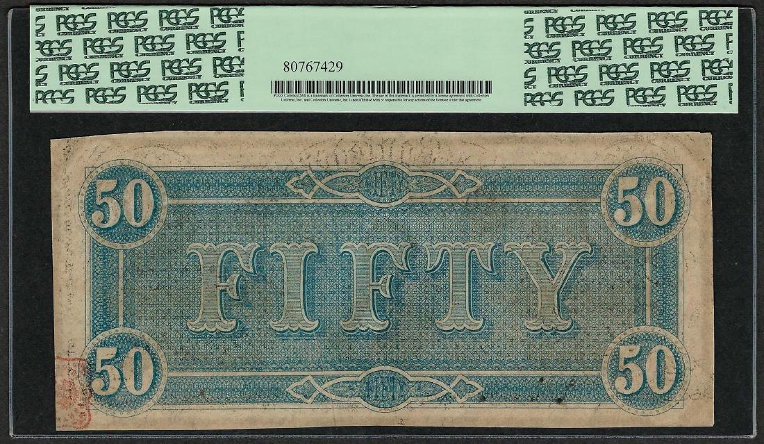 1864 $50 Confederate States of America Note T-66 PCGS - 2