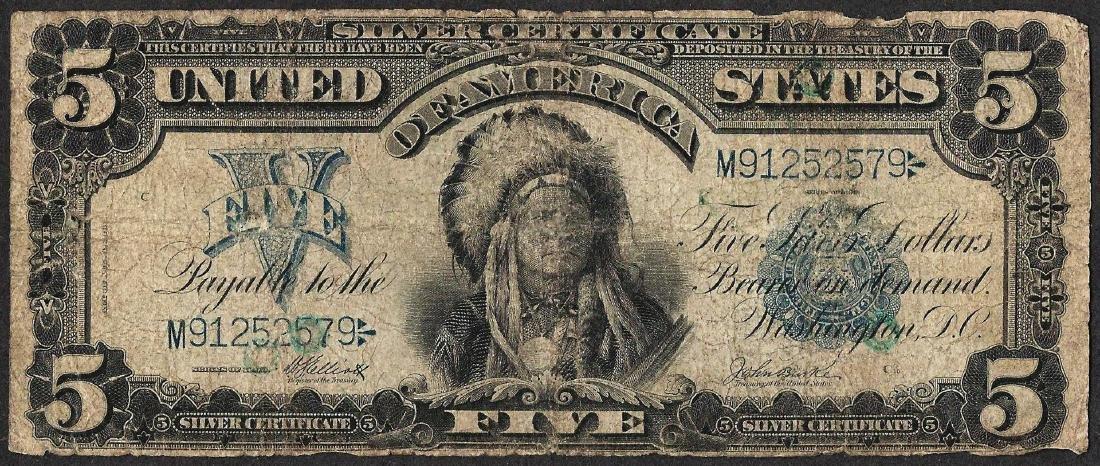 1899 $5 Chief Silver Certificate Note - Internal Tear