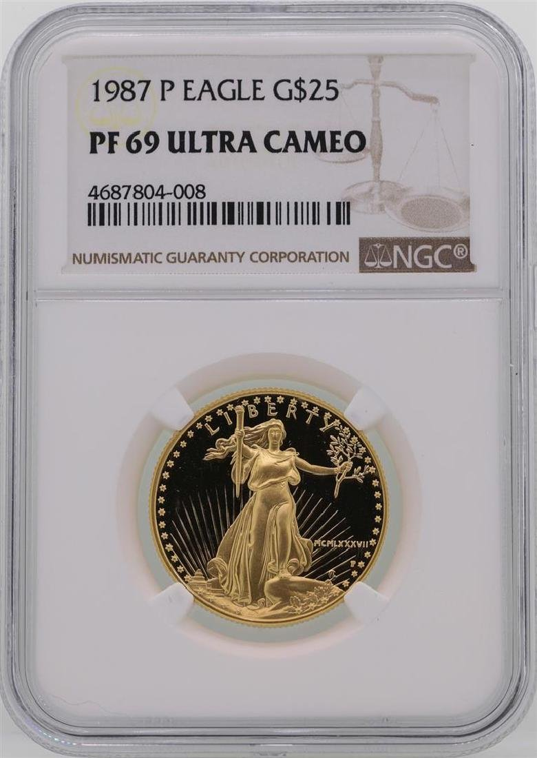 1987-P $25 American Gold Eagle Coin NGC PF69 Ultra
