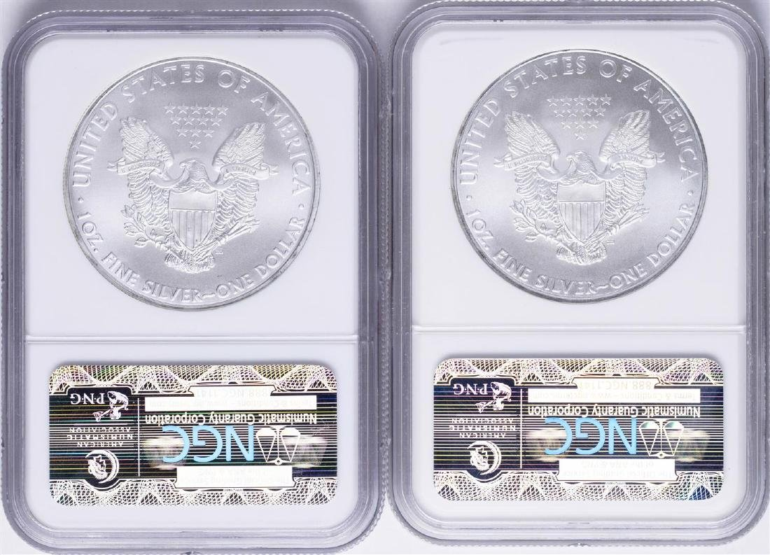 Lot of 2009 & 2010 $1 American Silver Eagle Coins NGC - 2