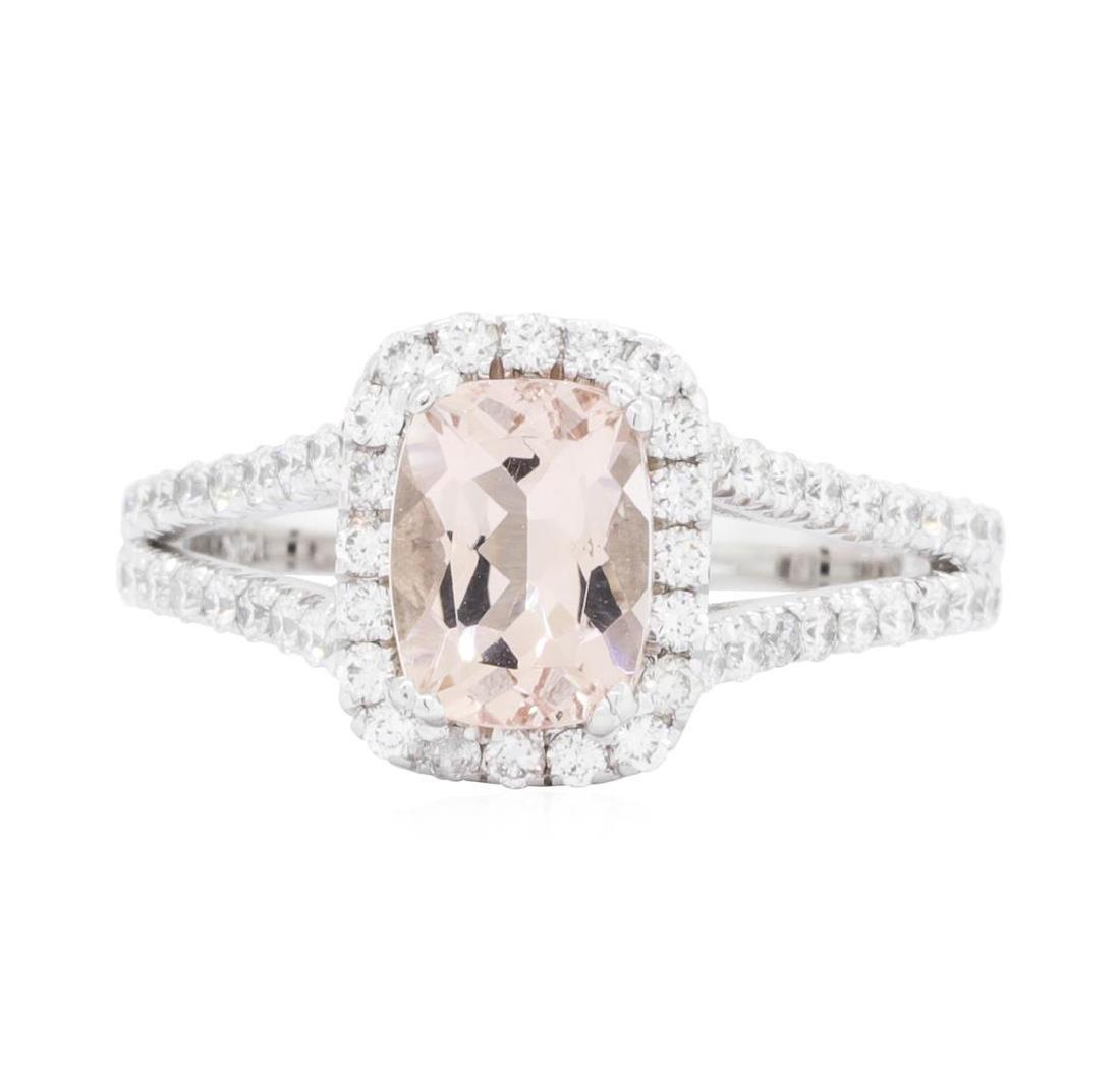 14KT White Gold 1.21 ctw Morganite and Diamond Ring