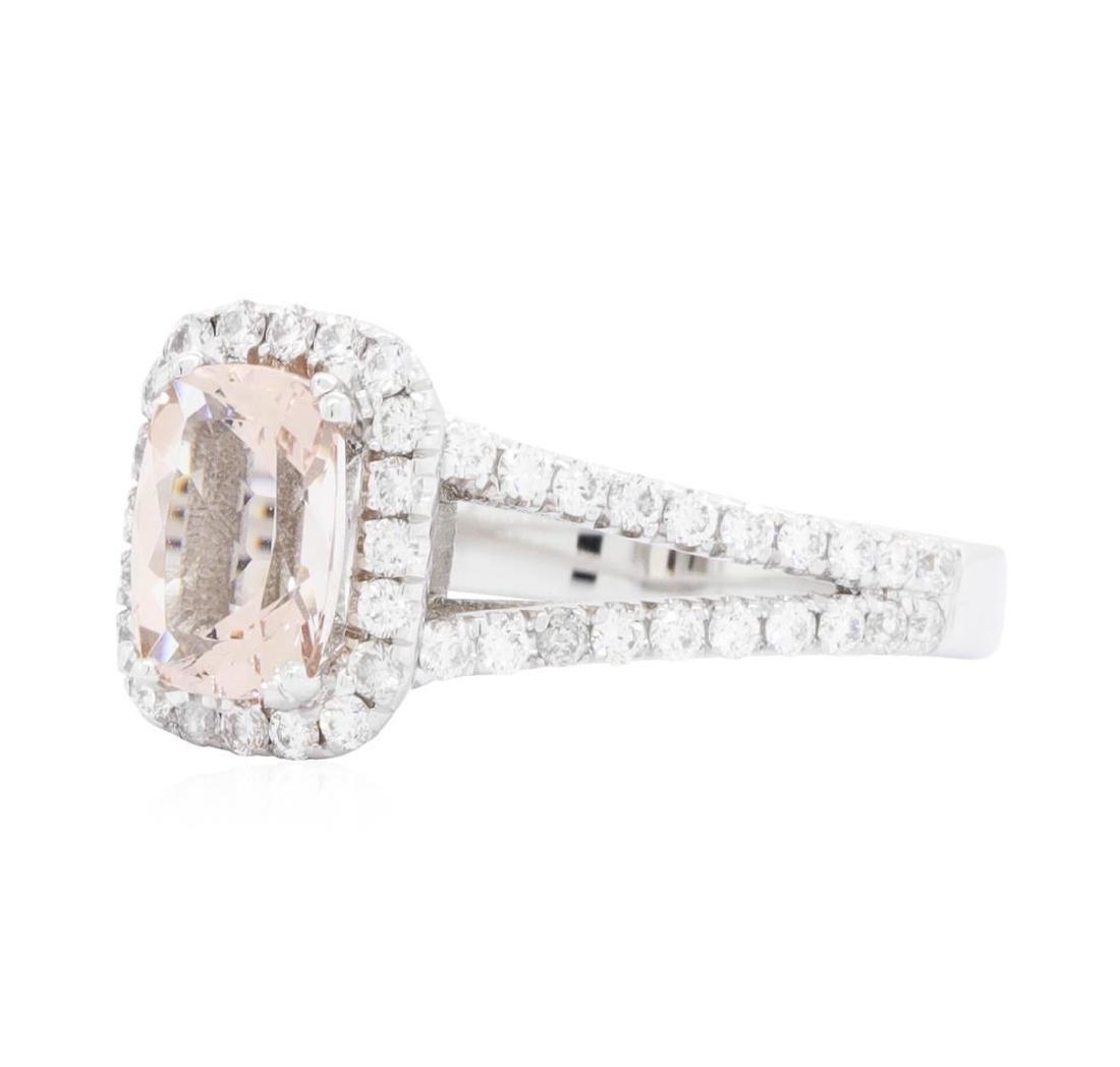 14KT White Gold 1.21 ctw Morganite and Diamond Ring - 2