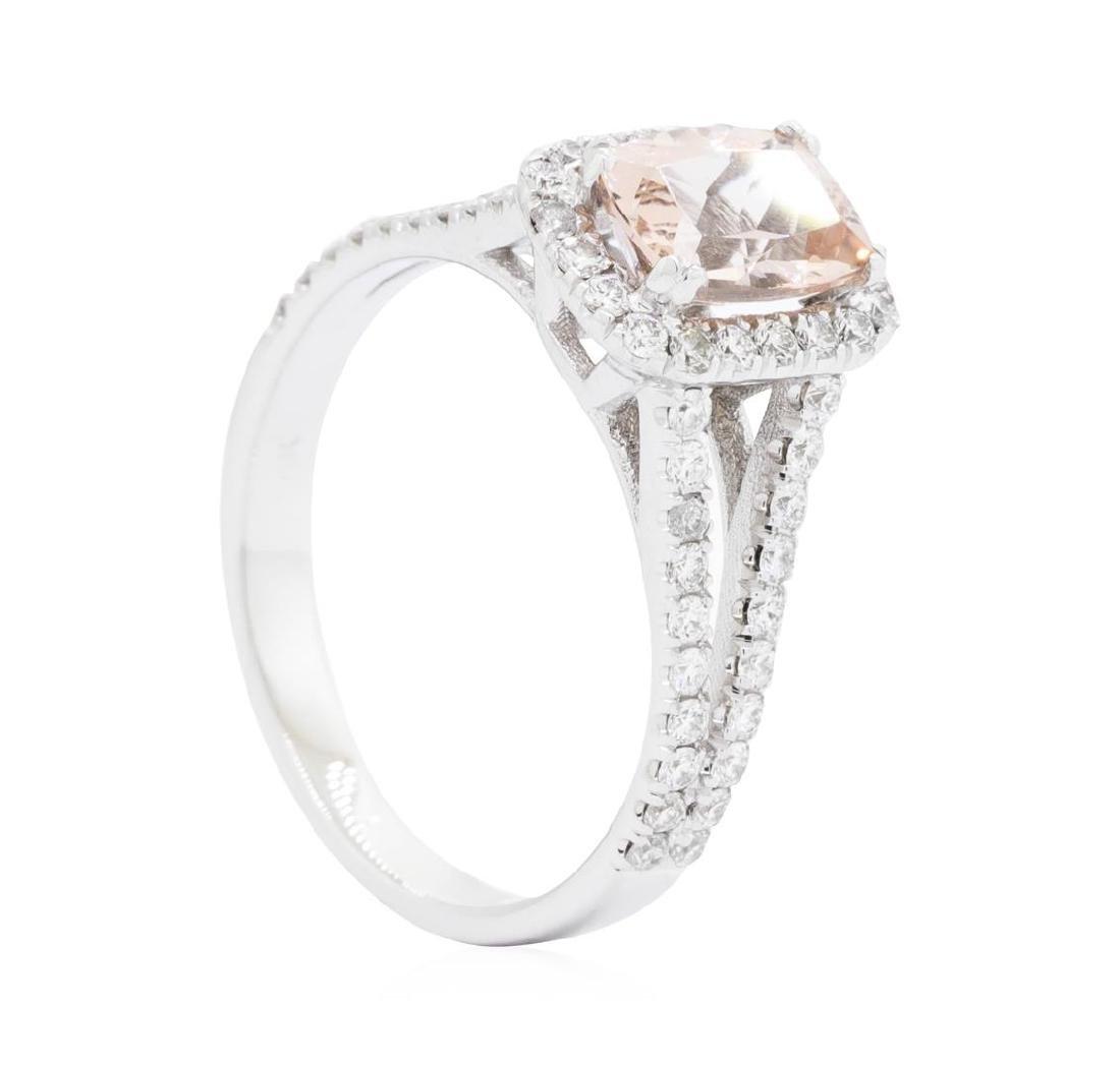 14KT White Gold 1.21 ctw Morganite and Diamond Ring - 3