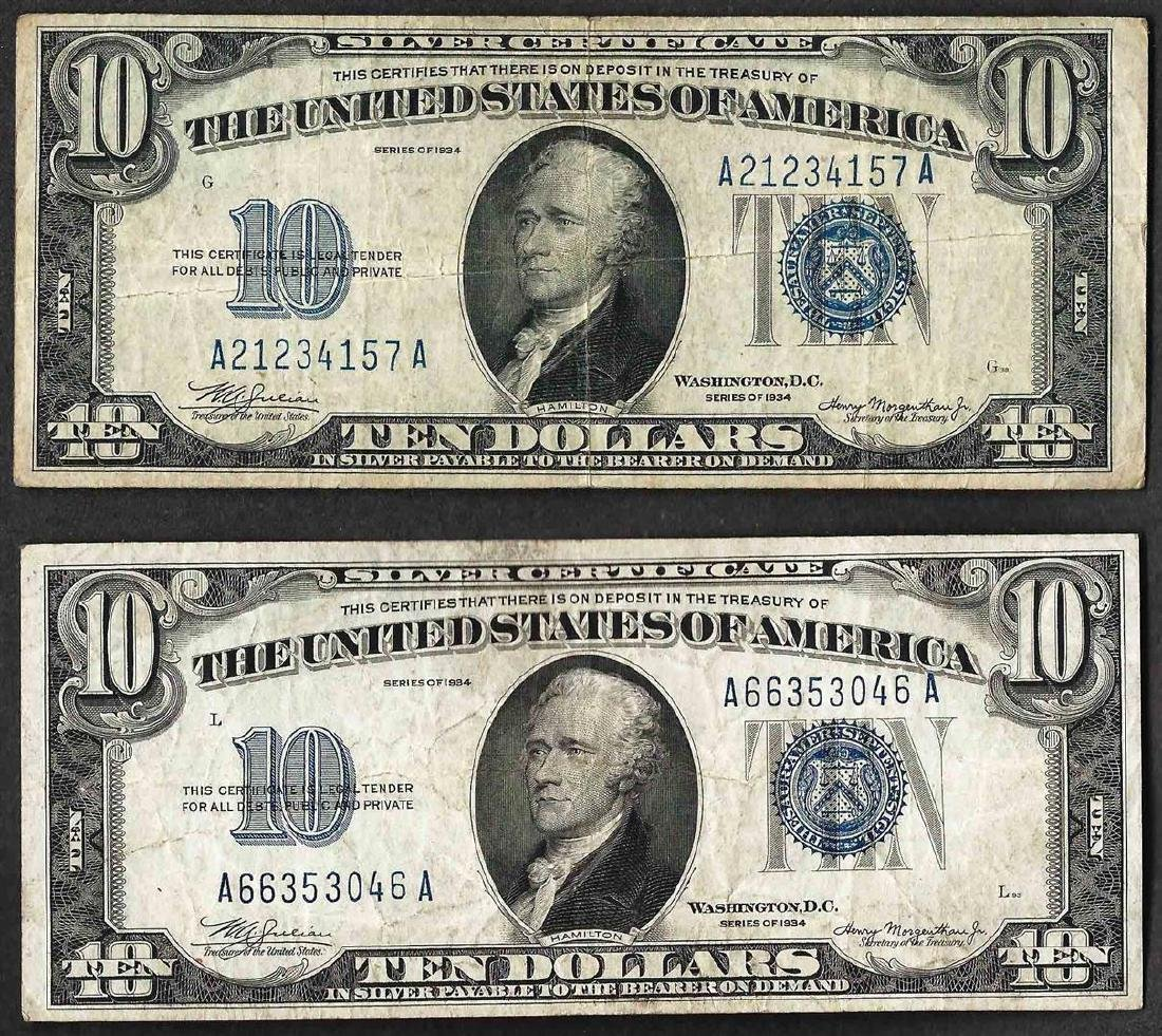 Lot of (2) 1934 $10 Silver Certificate Notes