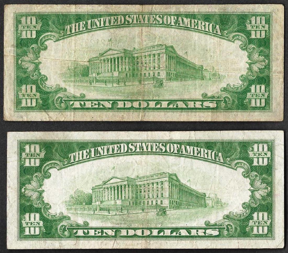 Lot of (2) 1934 $10 Silver Certificate Notes - 2