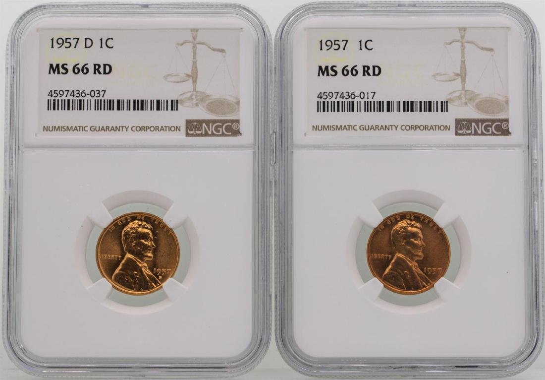 Lot of 1957 & 1957-D Lincoln Wheat Penny Coins NGC