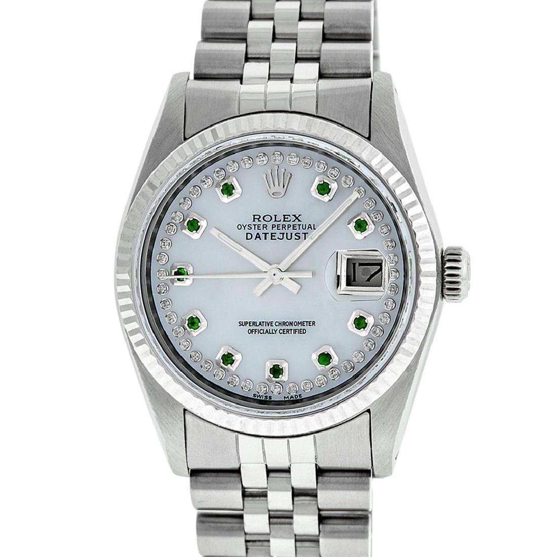 Rolex Men's Stainless Steel Mother Of Pearl Diamond &