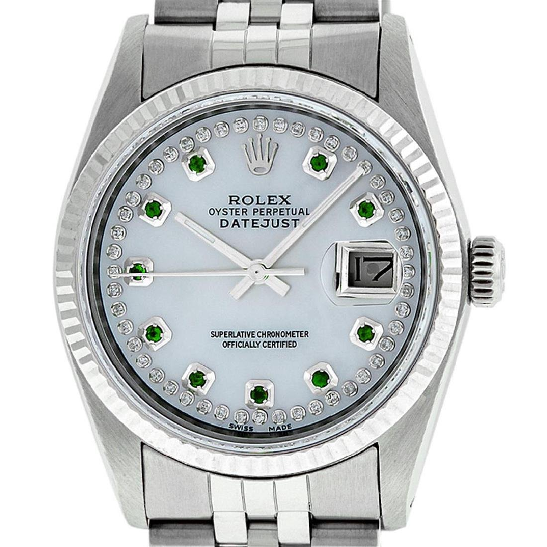 Rolex Men's Stainless Steel Mother Of Pearl Diamond & - 2