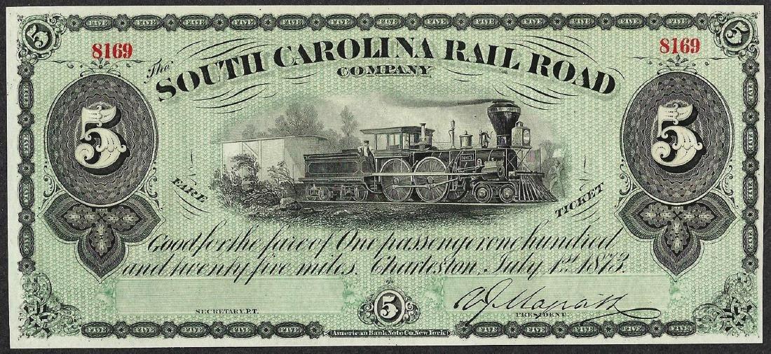 1873 $5 South Carolina Rail Road Company Obsolete Note