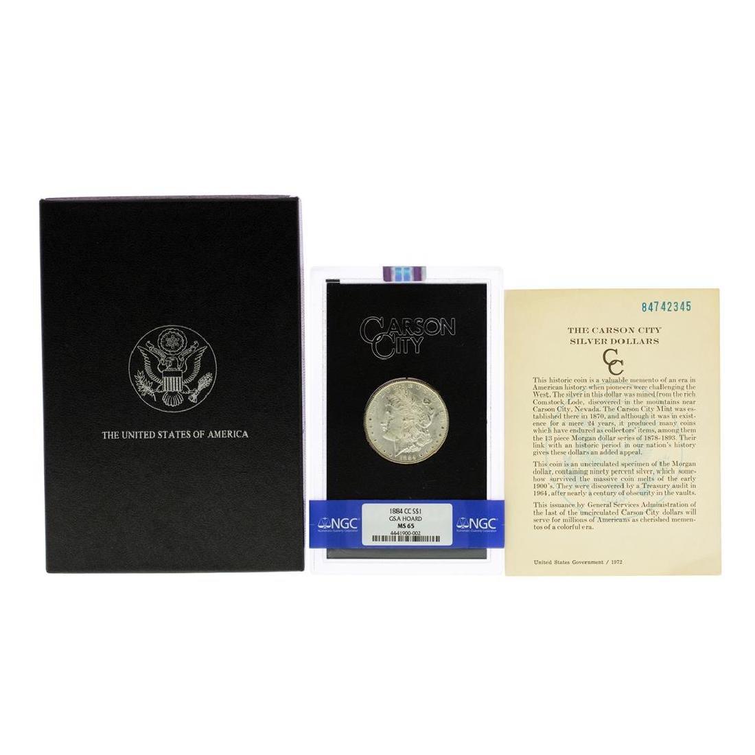 1884-CC $1 Morgan Silver Dollar Coin GSA NGC MS65 - 3
