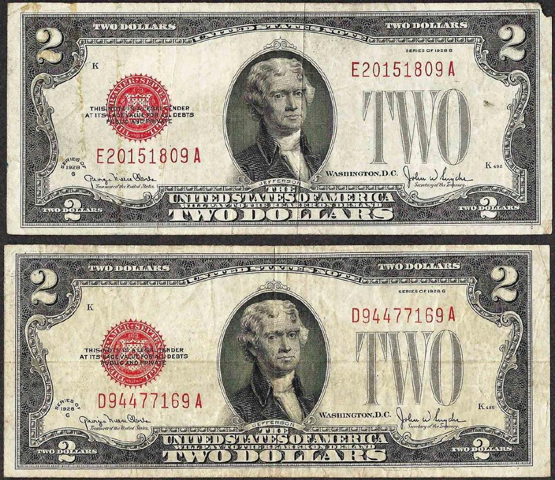 Lot of (2) 1928G $2 Legal Tender Notes