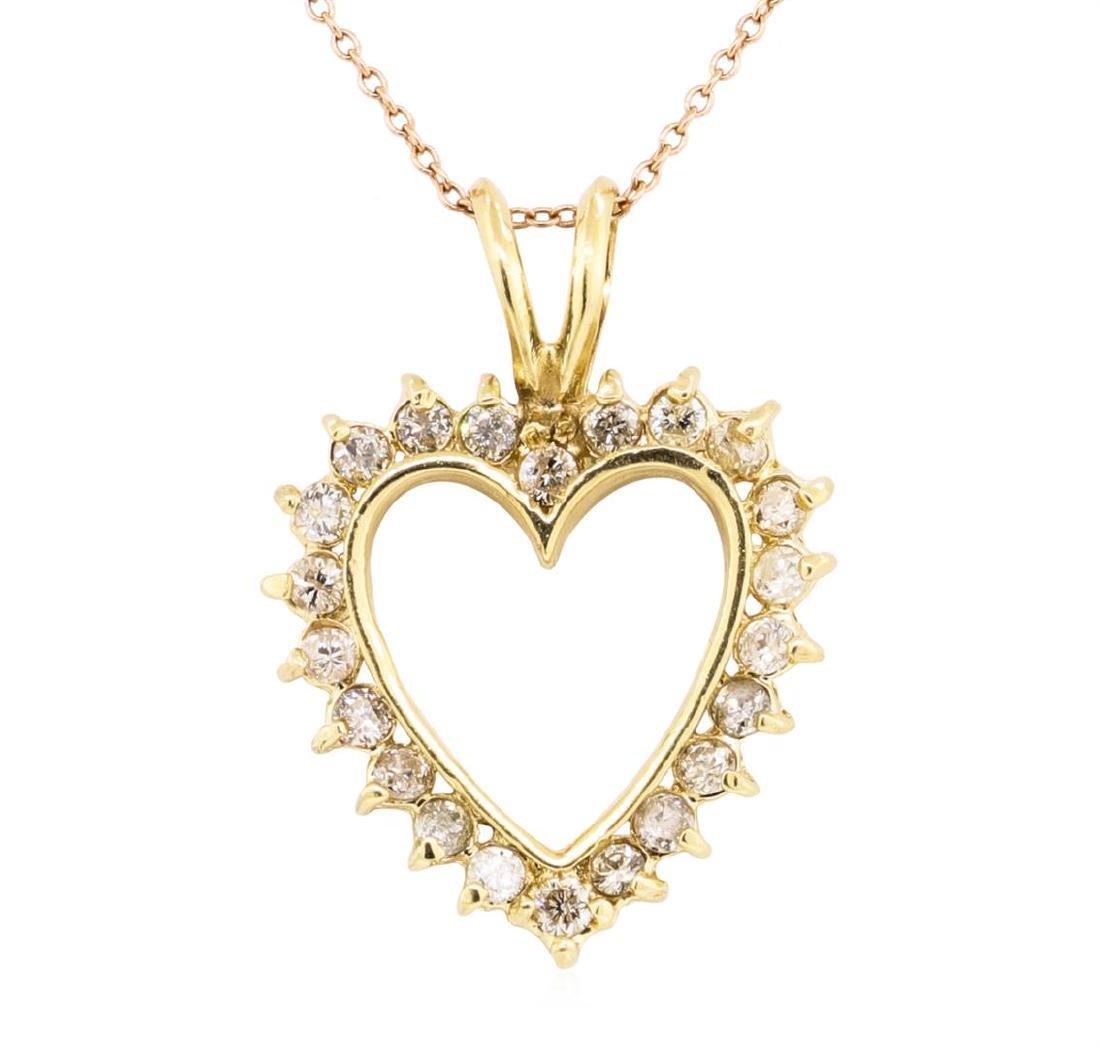 14KT Yellow Gold 1.00 ctw Diamond Heart Shaped Pendant