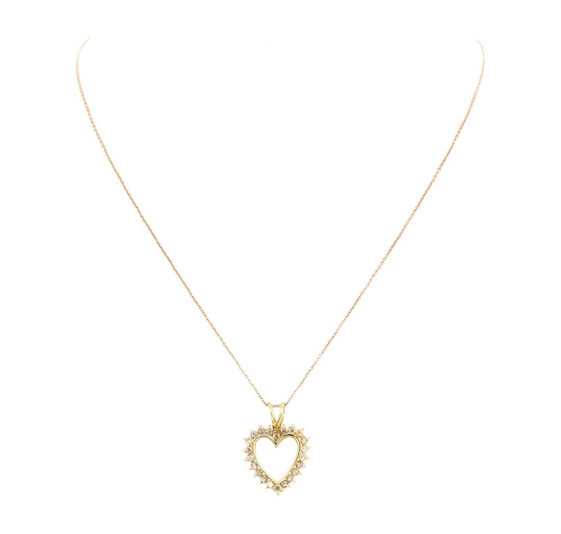 14KT Yellow Gold 1.00 ctw Diamond Heart Shaped Pendant - 2