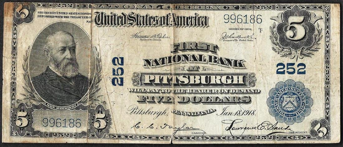 1902PB $5 First National Bank of Pittsburgh, PA CH# 252