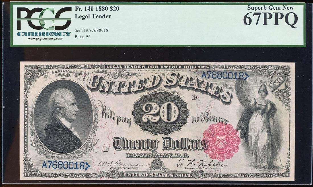 FINEST KNOWN 1880 $20 Legal Tender Note Fr.140 PCGS
