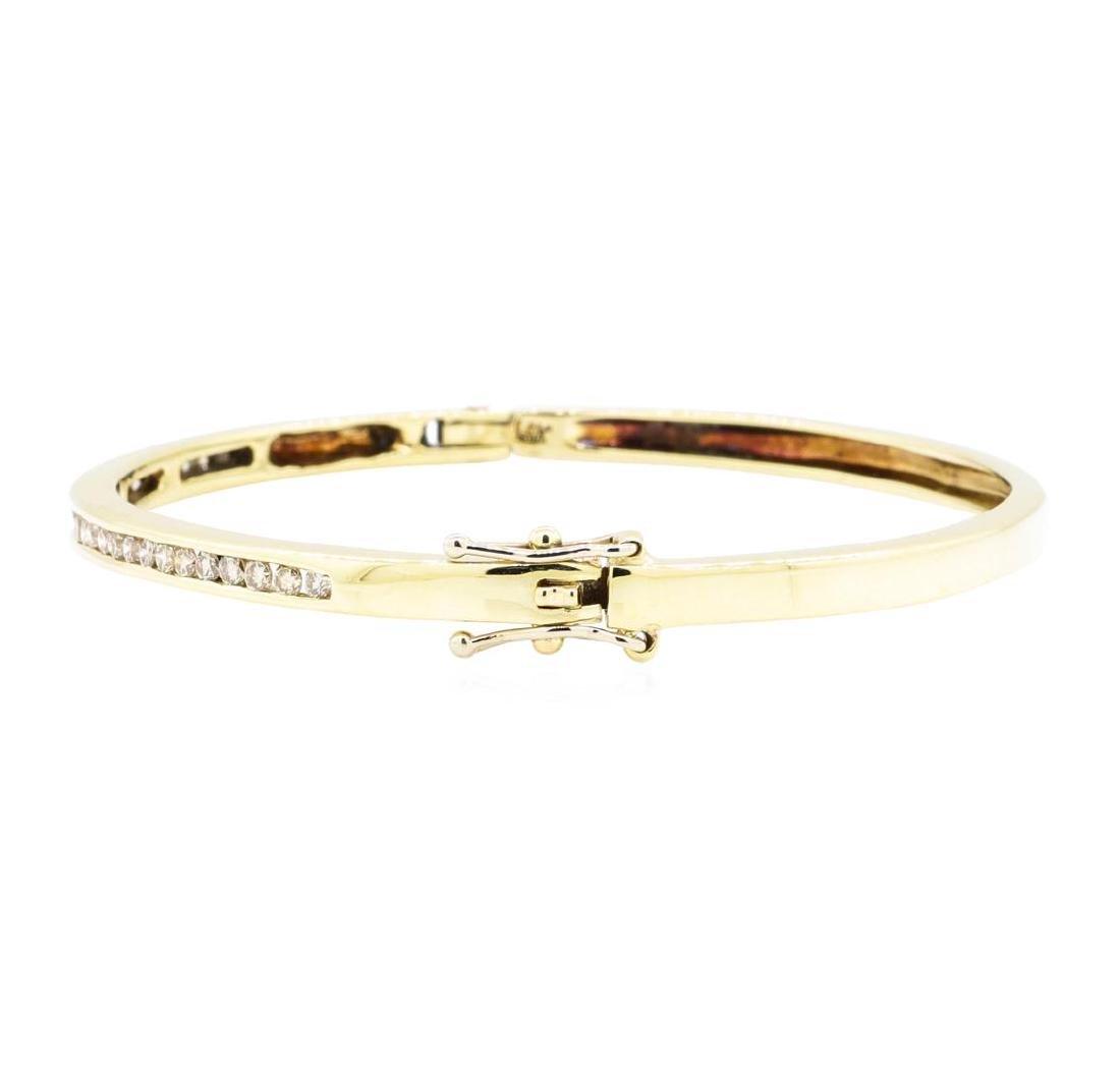 14KT Yellow Gold 0.85 ctw Diamond Bangle Bracelet - 2