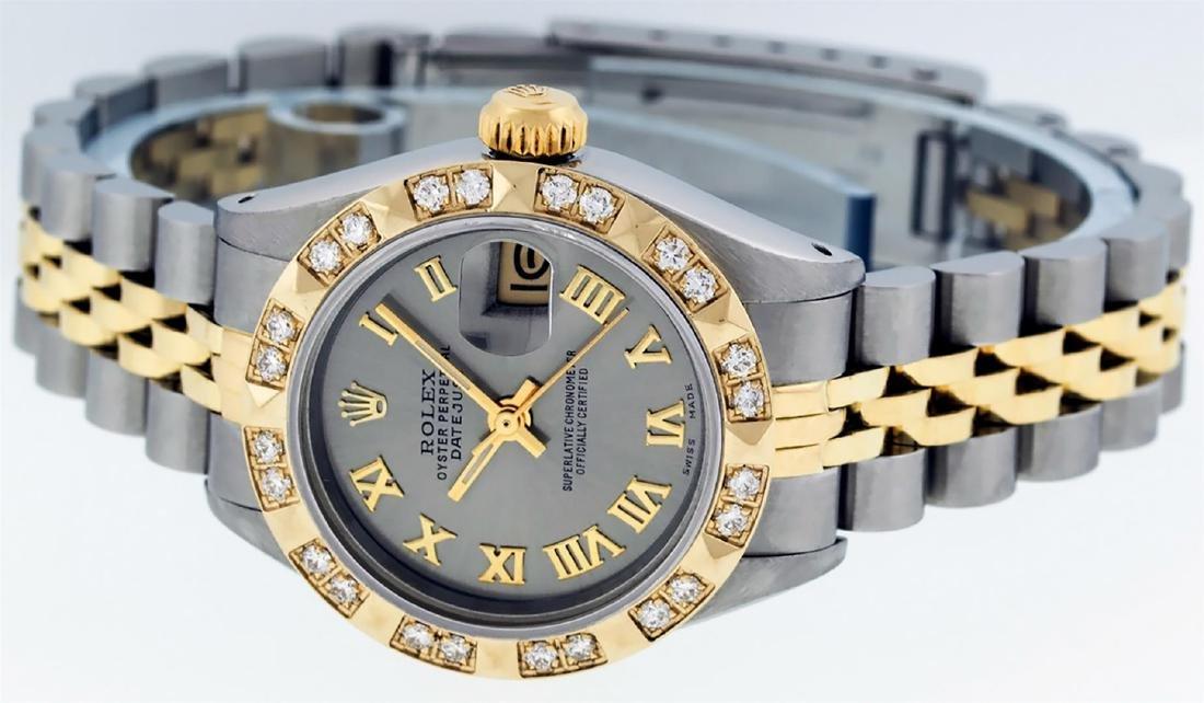 Rolex Ladies Two Tone 14K Gray & Pyramid Diamond - 4