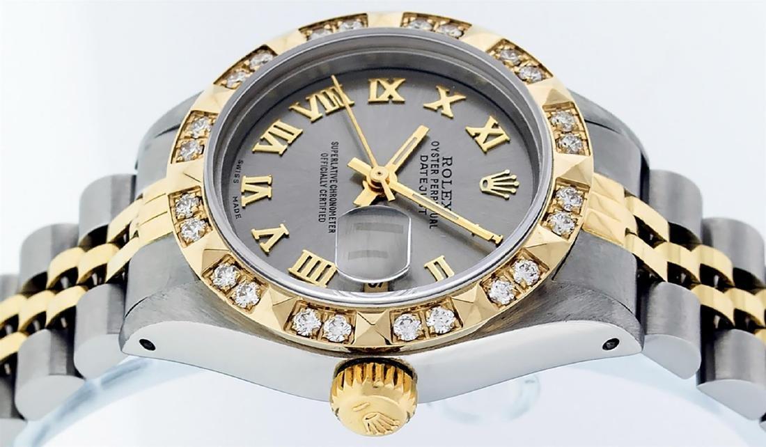 Rolex Ladies Two Tone 14K Gray & Pyramid Diamond - 6
