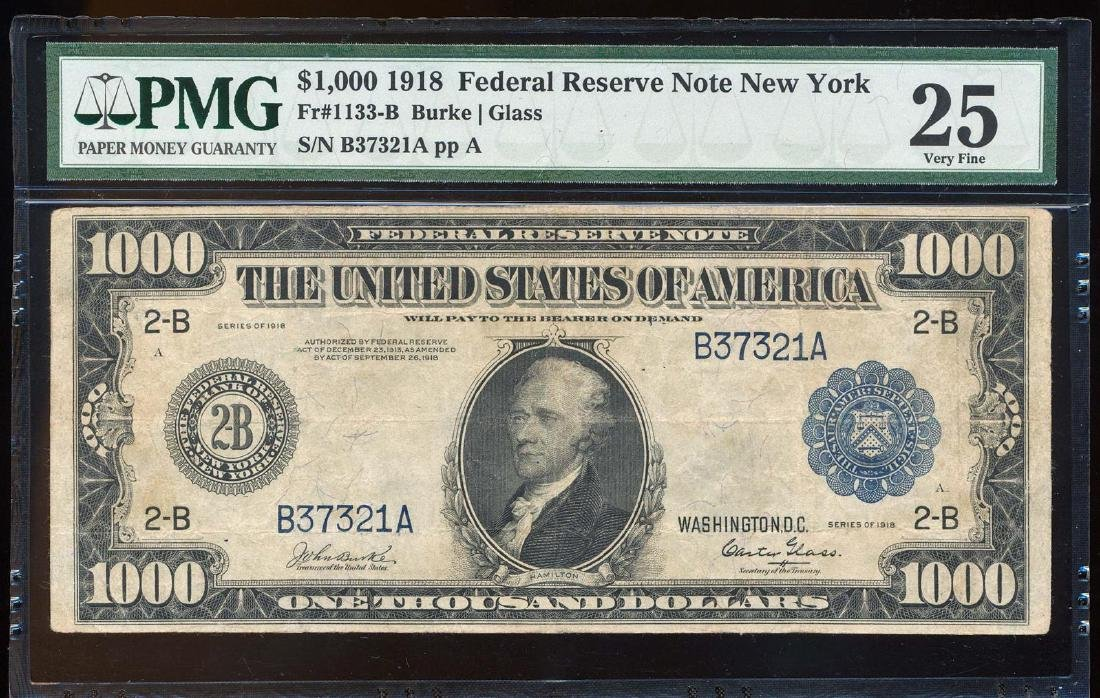 1918 $1,000 Federal Reserve Note New York Fr.1133-B PMG