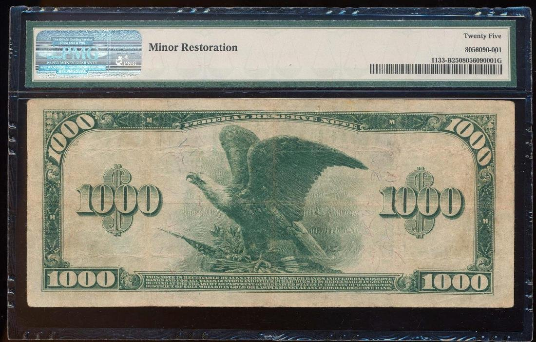 1918 $1,000 Federal Reserve Note New York Fr.1133-B PMG - 2