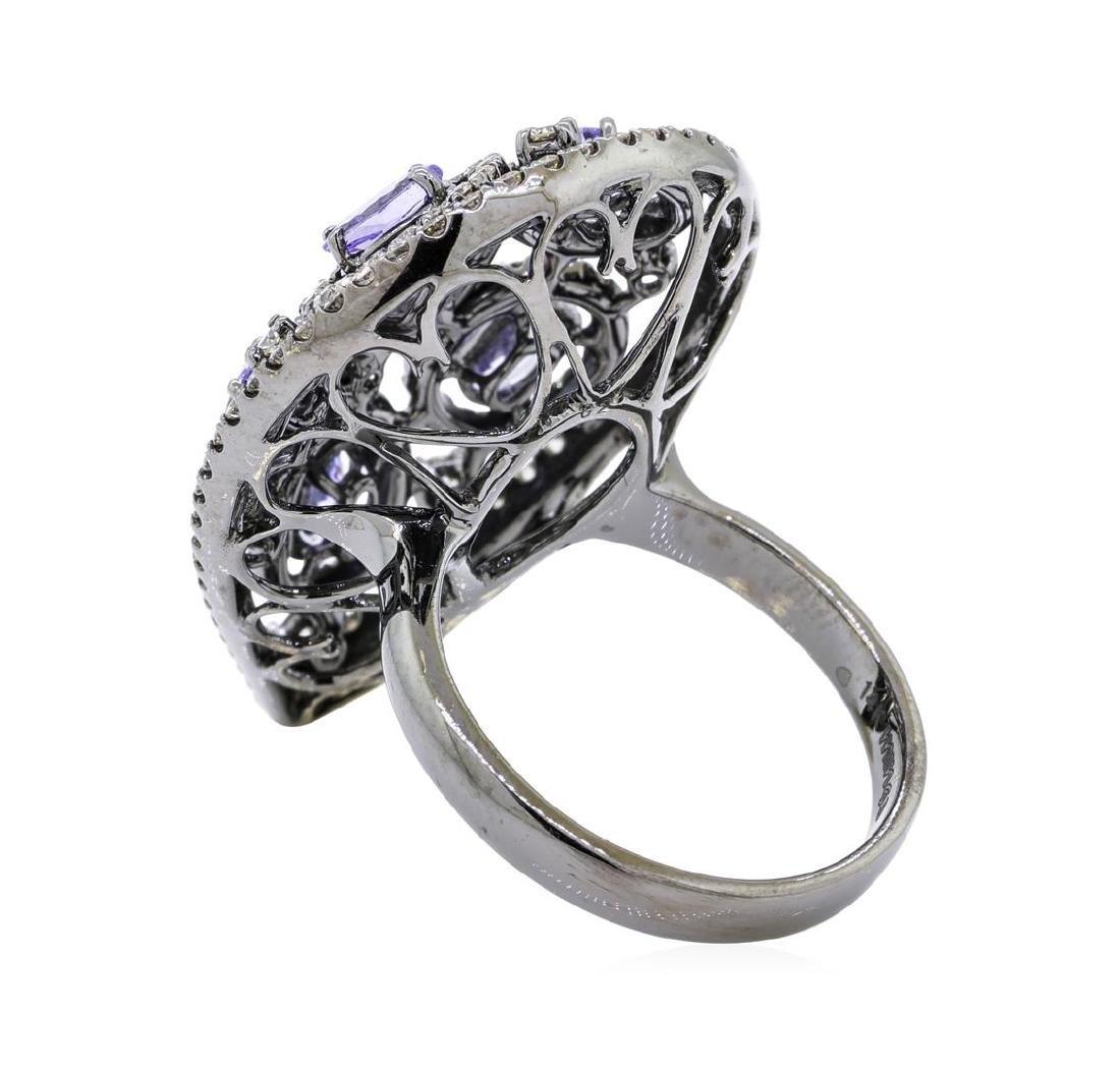 14KT Black Rhodium 1.32 ctw Tanzanite and Diamond Ring - 3