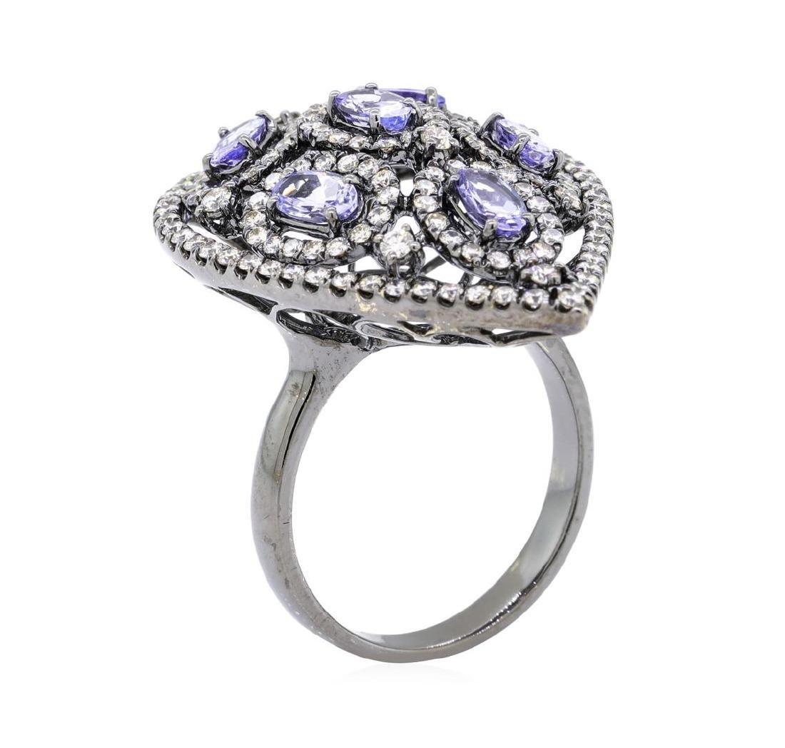 14KT Black Rhodium 1.32 ctw Tanzanite and Diamond Ring - 4