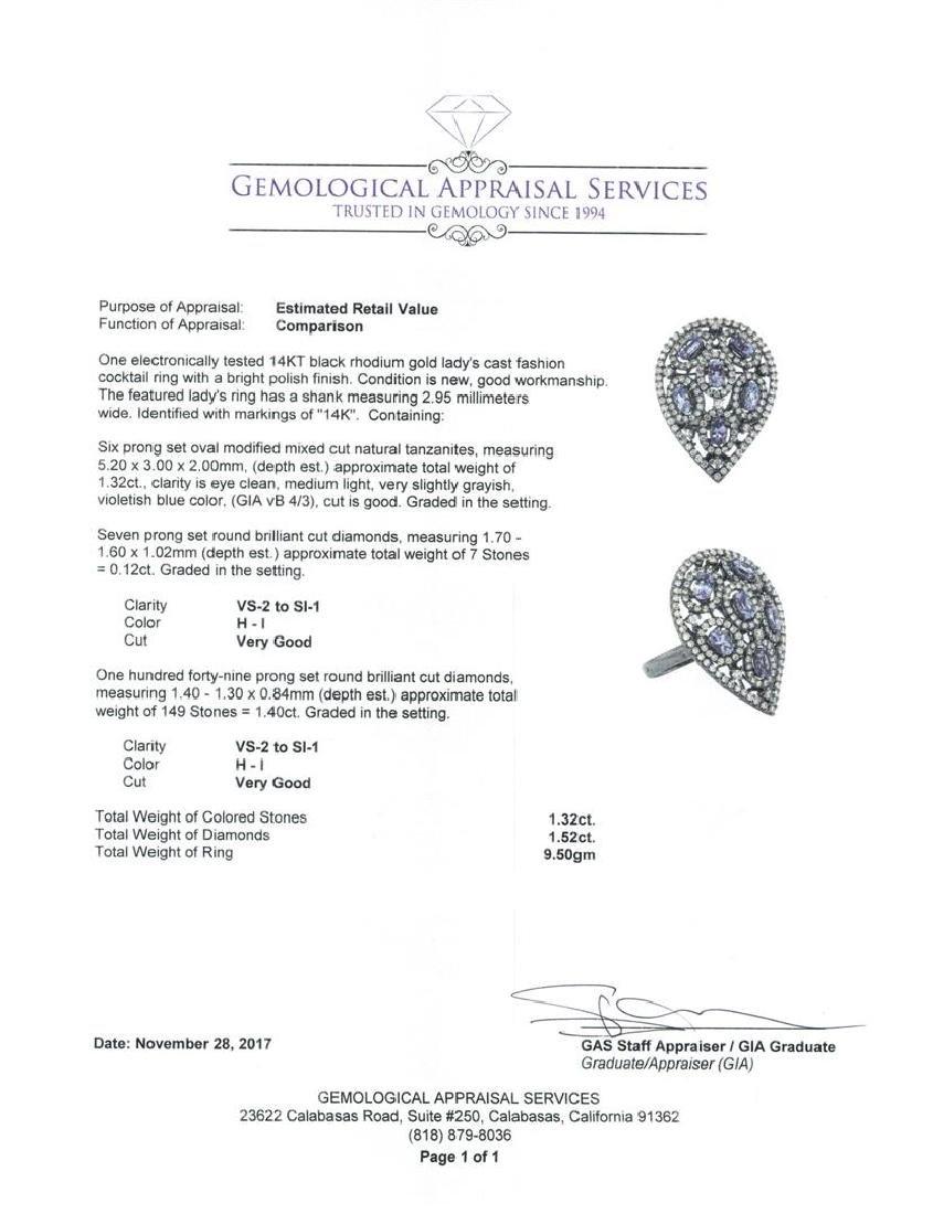 14KT Black Rhodium 1.32 ctw Tanzanite and Diamond Ring - 5