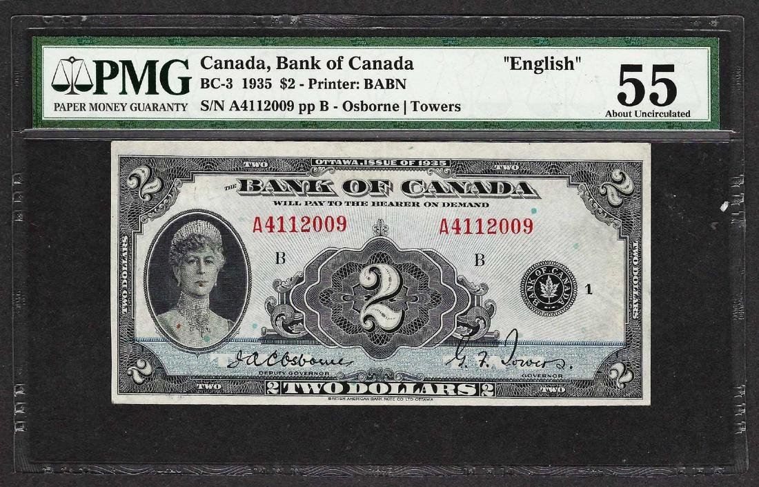 1935 $2 Bank of Canada Note English BC-3 PMG About